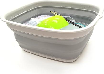 SAMMART Collapsible Tub - Foldable Dish Tub - Portable Washing Basin - Space Saving Plastic Washtub (Grey)