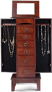 LHONE Jewelry Cabinet Jewelry Chest Jewelry Armoire Wood Jewelry Box Storage Stand Organizer with Side Doors 6 Drawers Makeup Mirror