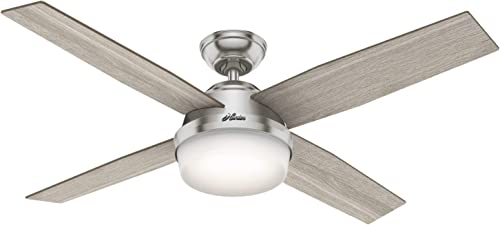 """high quality Hunter sale Fan Company 50284 Dempsey Indoor Ceiling Fan with LED Light and Remote Control, 52"""", discount Brushed Nickel Finish outlet online sale"""