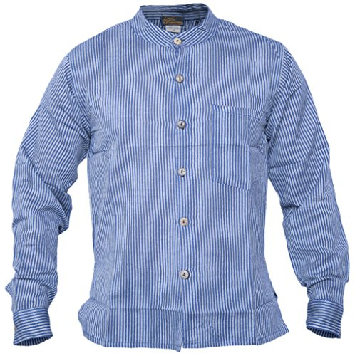 Camisas nepalesas de Little Kathmandu para hombres, de manga larga con botones y rayas Azul azul XXX-Large
