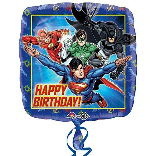 amscan 3238101 DC Comics - Globo de papel de aluminio para cumpleaños con tema de la Liga de la Justicia, 1 unidad