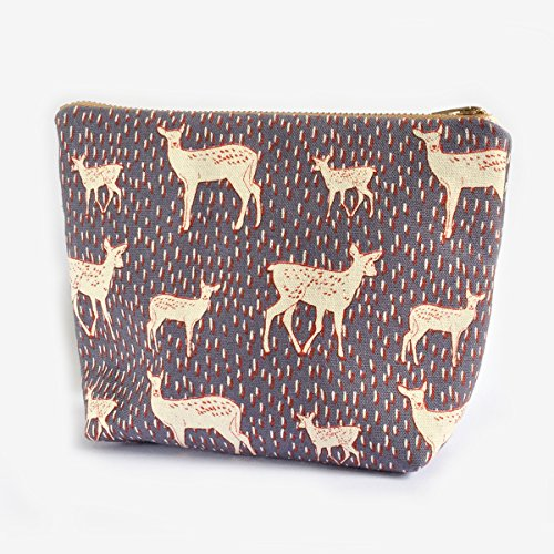 Deer Makeup Bag, Kawaii Deer, Canvas Zipper Pouch, Cosmetic Purse, Toiletry Bag, For Her