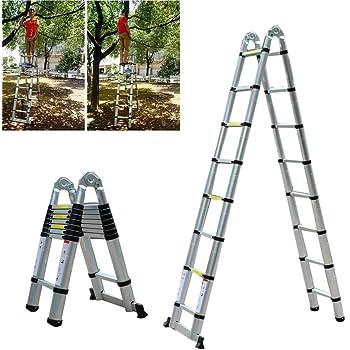OUkANING - Escalera multifunción, 5 m, escalera telescópica de aluminio, soporta hasta 150 kg: Amazon.es: Hogar