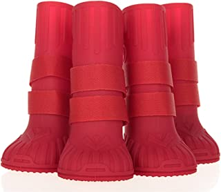 Puppy Rain Shoes Waterproof Rain Dog Boots Long Style Anti-Skid Pet Dog Accessories Supplies No.9-12 (Red)