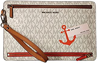 da2963ba6d0c MICHAEL Michael Kors Illustrations Sl Away Large Travel Wristlet Vanilla/Acorn  Wristlet Handbags
