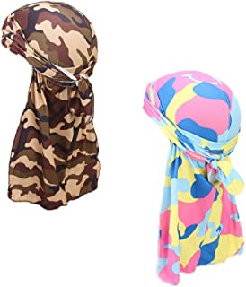 2 Packed 360 Waves Silk Durags Cap Long Tail Hip Rimix Hop Du-rag Chemo Hat for Men and Women