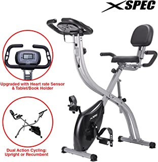 Xspec Upgraded Dual Recumbent/Upright Foldable Stationary Exercise Bike Convertible 8-Level Magnetic Resistance LCD Display with Heart Rate Sensor Tablet Holder Cardio Workout Indoor Cycling