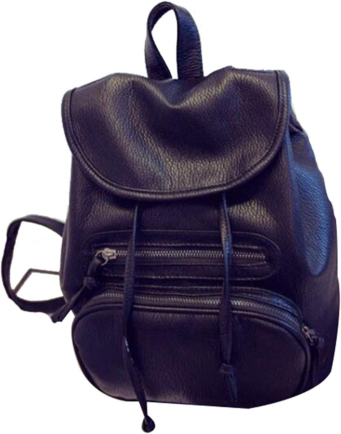Kin Women Fashion PU Leather Shoulder Bag College School Backpack with Cap String Black Casual Backpack