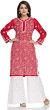 ADA Hand Embroidered Lucknow Chikan Regular Wear Faux Georgette Kurti Kurta A95556