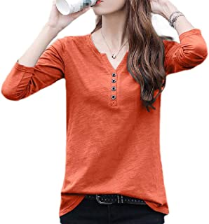 S-Fly Womens V Neck Loose Fit Plus Size Classic Long Sleeve Solid Color T-shirt