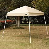 VIVOHOME Slant Leg Outdoor Easy Pop Up Canopy Party Tent Beige 8 x 8 Feet