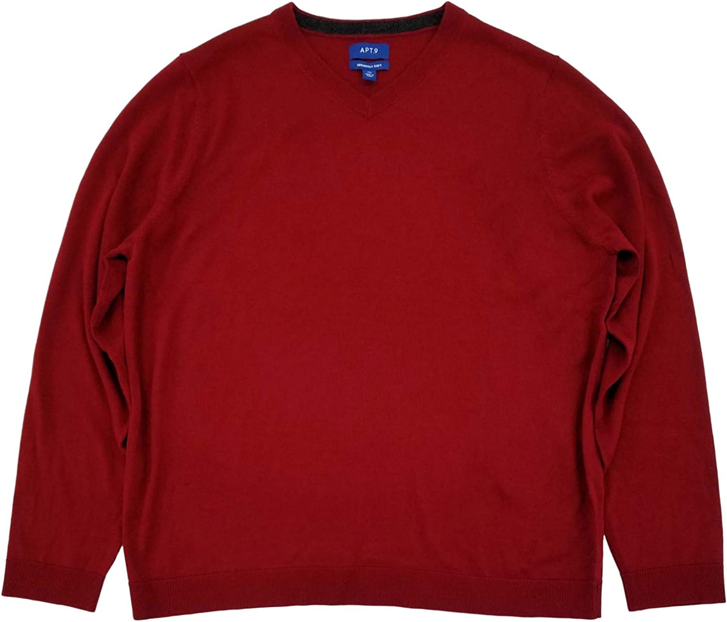 Mens Max 59% OFF Red Soft Merino Don't miss the campaign Sleeve Long V-Neck Sweater