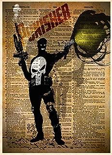 The Punisher art print, splatter art, superhero decor,cool pop art, vintage dictionary art print