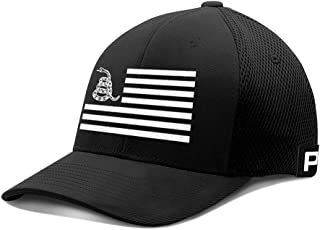 Don't Tread On Me White USA Flag Flex Fit Baseball Cap Gadsden Flag Hat DTOM Snake