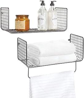 mDesign étagère murale – meuble de rangement métallique polyvalent pour salle de bain, garage ou buanderie – set de deux p...