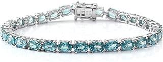 925 Sterling Silver Platinum Plated Blue Zircon Bridal Tennis Bracelet Jewelry 7.25