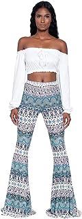 Pantalones Largos de Estilo Nacional Boho para Mujer Pantalón Acampanado Anchos Estampado de Damas