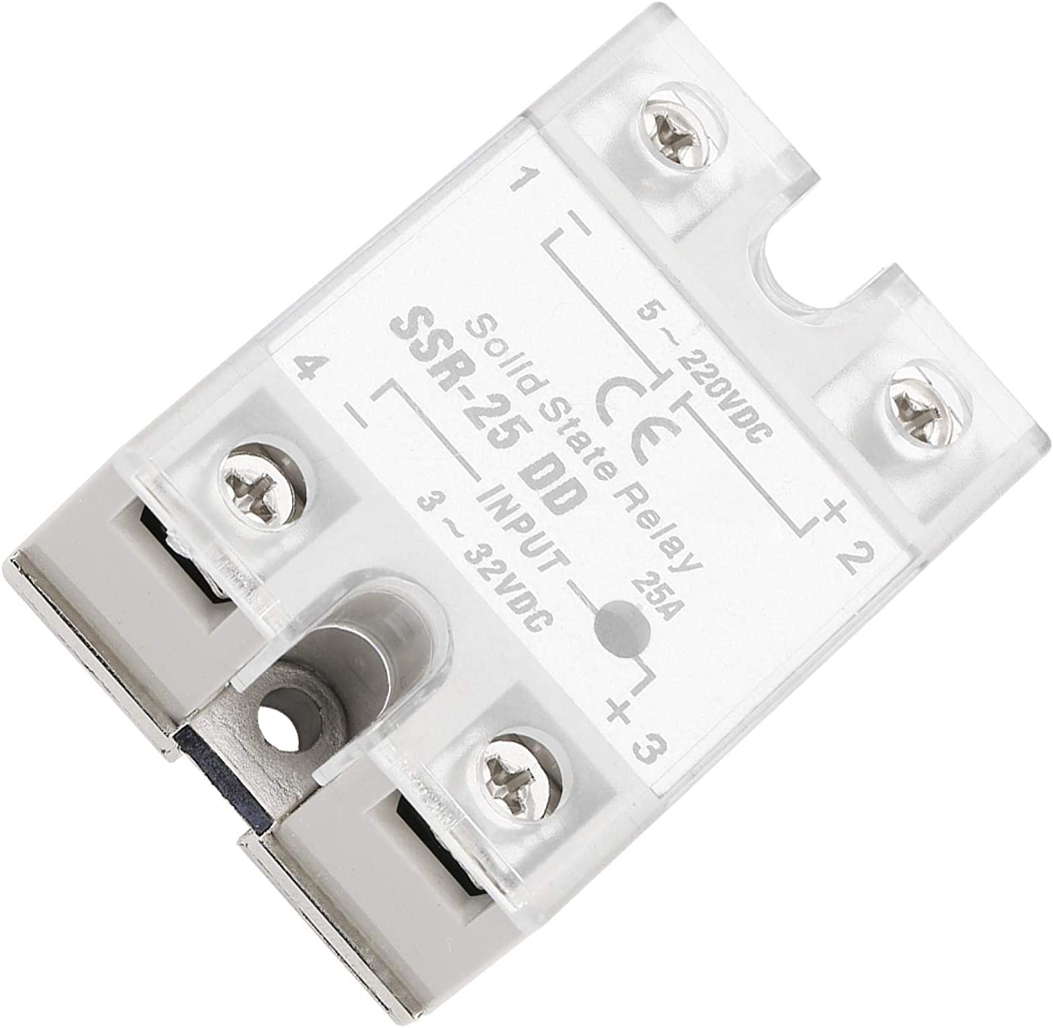 SSR-25 DD 25A DC-DC Universal Solid State Relay Module, Input Voltage dC 3-32V, Output Voltage DC 5-220V, Single Phase Semi-Conductor Relay for Industrial Automation Process