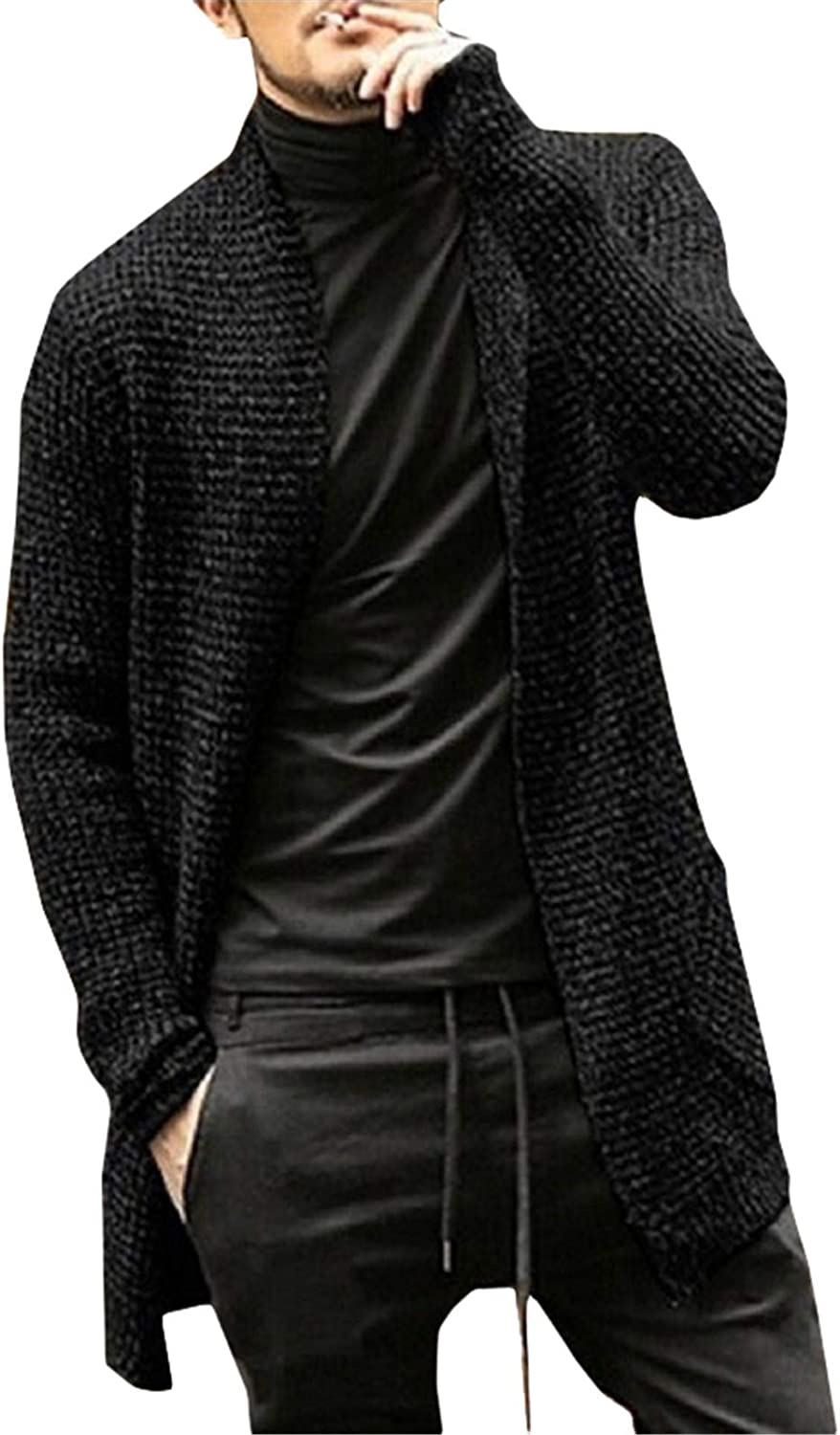 Sweater Cardigan Men Autumn Knitted Sweater Men's Coat Solid Long Sleeves Long Casual Cardigan