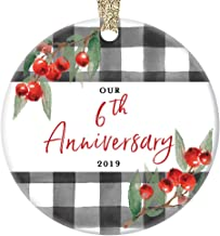6th Wedding Anniversary 2019 Ornament Six 6 Years Married Couple Sixth Holiday Together Ceramic Keepsake Partner Wife Husband Spouse 3