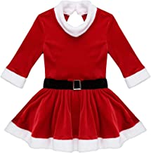 TiaoBug Girls Mrs Claus Costume Santas Christmas Party Dress Outfit Figure Ice Skating Ballet Dance Velvet Leotard Skirted