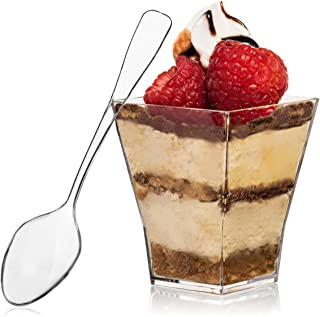 Square Mini Dessert Cup - 2 Ounce - Durable Crystal Clear Plastic (110 Count) Ideal for Desserts, Appetizers, Entrees, Pud...