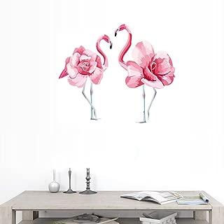 BIBITIME Couple Rose Flower Flamingo Wall Decals for Girl Room Animal Birds Vinyl Peel and Stick Wall Stickers Living Room Nursery Bedroom
