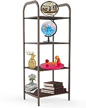 YOHKOH Metal Storage Shelf, Stand 4-Tier Multifunctional Storage Rack Shelving Unit for Living Room, Bathroom, Balcony, Kitchen, Garden 40.1 x 15.3 x 12.6 Inches Brown