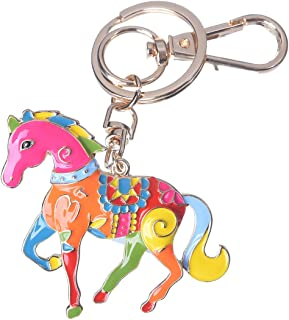 Girl's Unicorn Keychain Gold Plated Bag Charm Cute Car Key Ring Crystal Purse Pendant #5166