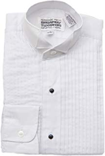 "Tuxedo Shirt- Boys White Wing Collar 1/4"" Pleated Shirt"
