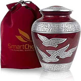 SmartChoice Wings of Freedom Cremation Urn for Human Ashes - Affordable Funeral Urn Adult Urn for Ashes Handcrafted Urn (Royal Red)