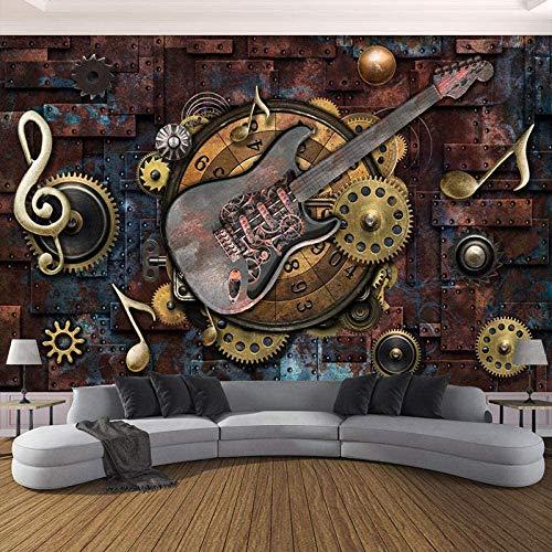 YIERLIFE 3D Fototapeten Vlies Wandbild Retro Gitarren Metal Zahnräder Mehrere Größen und Stile, Benutzerdefinierte 3D-Wandbild Tapete Vliestapete Wohnzimmer Tv Rückwand Bettwäsche Zimmer 3D - Fototape