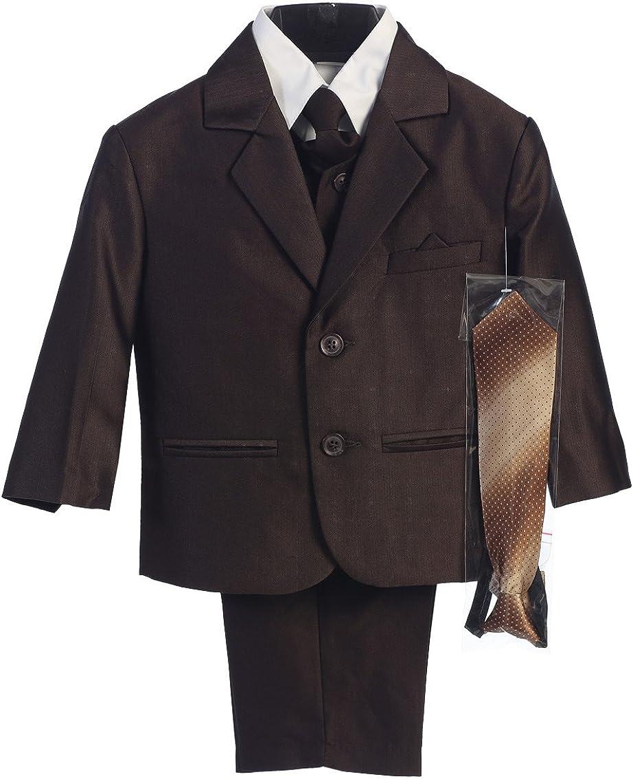 Boy's 2-Button Herringbone Suit in Black Brown Navy (Infant-Tween) Vest 2 Ties