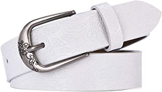 LUKEEXIN Women's Leather Belt Design Embossing Carving Buckle Waist Strap (Color : White, Size : 110cm)