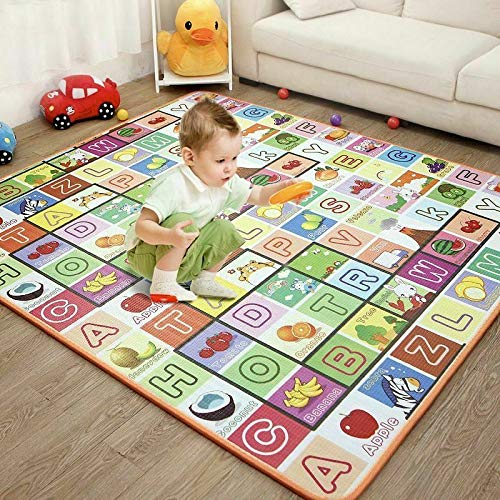 Sasimo Double Sided Water Proof Baby Carpet Mat Crawling Play Mat Carpet Baby Gym Water Resistant (Extra Large Biggest Size - 6.5 Feet X 6 Feet, Assorted Colour) Playmat for Babies
