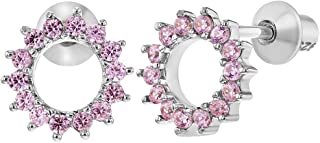 925 Sterling Silver Pink CZ Round Open Screw Back Earrings for Toddlers Kids
