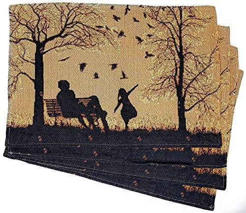 DaDa Bedding Autumn Breeze - Juego de 4 manteles individuales de algodón y lino, para mesa de comedor con diseño de flores y flores para hijas, color naranja, café y negro, 33 x 48 cm