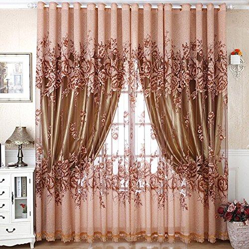 mcitymall77 1 * 2.5 Vorhänge Tüll-Vorhang für Wohnzimmer Schlafzimmer kinderzimmer (Coffee) (Ohne Innene Vorhang)