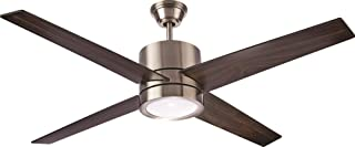 NOMA Ceiling Fan with Light | Reversible Maple or Distressed Walnut Blades | Dimmable with Remote | Brushed-Nickel Finish, 52-Inch