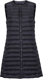 chouyatou Women's Light Button Up Quilted Mid-Long Down Vest Waistcoat