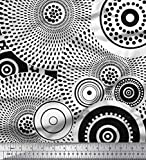 Soimoi Schwarz schweres Canvas Stoff Runde Geometrische
