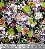Soimoi Grüner Satin Seide Stoff Totenkopf & Anemone Blume