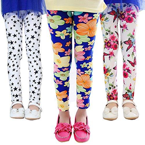 Z-Chen 3er Pack Kinder Mädchen Leggings Strumpfhose Blumen Motiv, Gr. 134