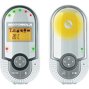 """Motorola MBP 16 - Babyphone audio DECT avec écran 1.5"""", éco mode, veilleuse et capteur de la température ambiante, couleur blanc/gris"""