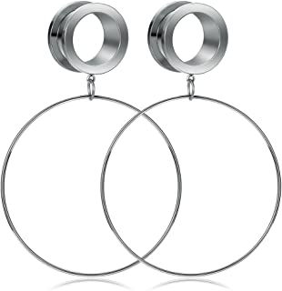 Kangyijia Surgical Steel Ear Tunnels Large Hoop Ear Plugs Expander Dangle Gauges Stretcher Piercing