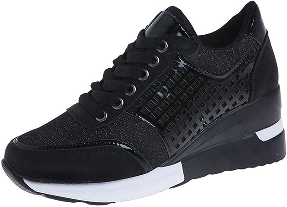 Vimisaoi Sneakers for Women, Lace Up High Heel Wedge Casual Tennis Walking Shoes