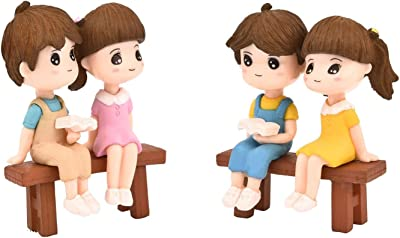 P S Retail Sweety Lovers Couple Reading Style Figurine Miniature- Style 17 - (4 pcs/Set)