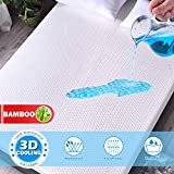 Mattress Protector Cooling Bamboo Waterproof Mattress Protector King Size 3D Air Fabric Ultra Soft Breathable Mattress Protector Comfort & Protection Phthalate & Vinyl-Free (3D Bamboo Fabric Queen)
