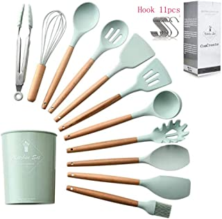 Beauenty Silicone Kitchen Cooking Utensils Set with Wooden Bamboo (12 Piece) Durable Cookware Tools   BPA-Free, Non-Stick ...
