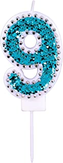 Willcan Happy Birthday Number 9 Candles with Rhinestone Blue Color and Glitter Powder for Birthday decroation or Collecting (Blue Number 9)
